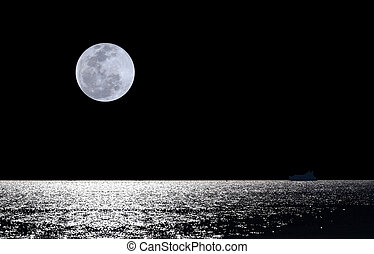 volle maan, op, water