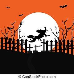 volle, moon., vliegen, begraafplaats, verschrikkelijk, illustratie, vector, heks, bos