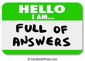 volle, naam, sticker, antwoorden, label, woorden, hallo