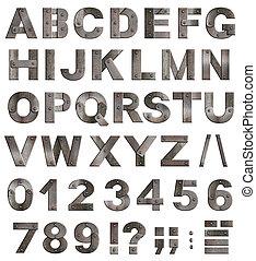 volle, oud, metaal, alfabet, brieven, cijfers, en,...