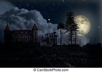 volle, oud, woning, maan, nacht, mysterieus