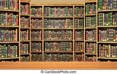 volle, oude boeken, achtergrond, boekenplank, tafel, library...