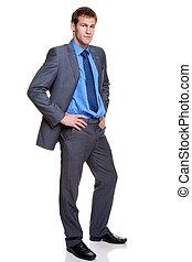 volle, pinstripe, grijze , lengte, kostuum, zakenman