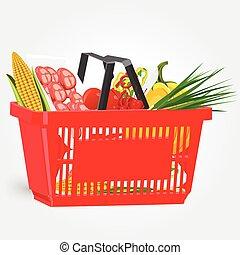 volle, shoppen , voedingsmiddelen, vrijstaand, achtergrond, mand, witte