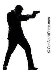 volle, silhouette, geweer, lengte, schietende , man