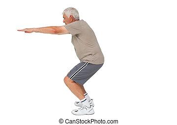 volle, Stretching, lengte, handen, senior, aanzicht,...