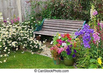 volle, tuinier bank, huisje, bloemen, containers