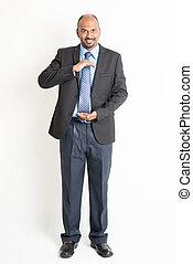 volle, vasthouden, lengte, indiër, iets, middelbare leeftijd , zakenman