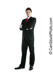 volle, vastknopen, lengte, het poseren, stander, kostuum, zakenman