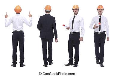 volle, vrijstaand, architect, groei, witte , ingenieur, .competent