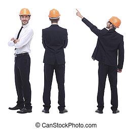 volle, vrijstaand, ingenieur, witte , .qualified, groei, architect