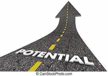 volle, woord, possibile, bereiken, illustratie, potentieel, gelegenheid, straat, 3d