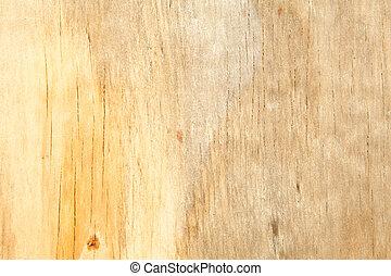 volledig kader, bevlekte, op, gele, water, houtstructuur, ...
