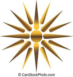 volledig, vectorized, zon, gouden