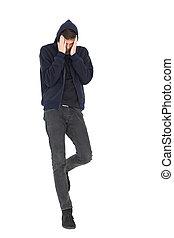 volledige lengte, van, een, koel, jonge man, met, hoofdpijn
