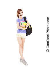 volledige lengte, vrolijke , student, meisje, vasthouden, boekjes