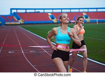 vollenden, rennen, läufer, zusammen, weibliche