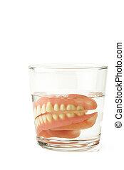 volles gebiss, dental, platte, in, glas wasser