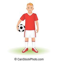 volles längenporträt, von, a, kind, in, sportkleidung, besitz, a, fußball, ball.