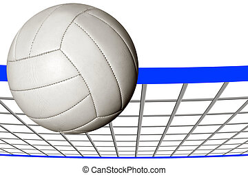 A volley ball over an illustrated net