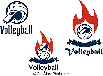 volley-ball, balles, siffle, et, flammes