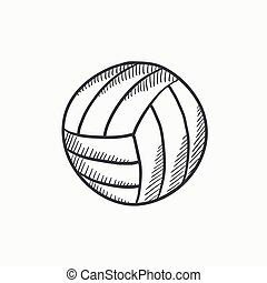 volley-ball, croquis, balle, icon.