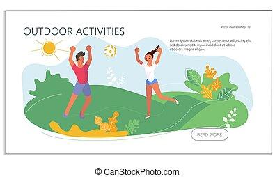 volley-ball, extérieur, été, activité