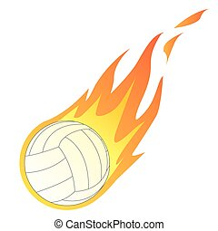 Volley Ball in Fire - Vector illustration of a Volley Ball...