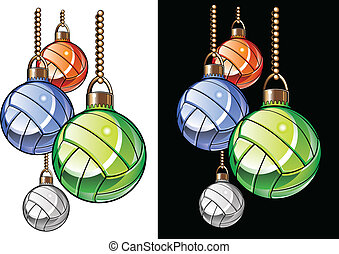 volley-ball, noël ornements