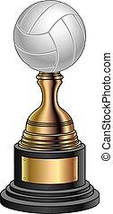 volley-ball, noir, or, -, trophée