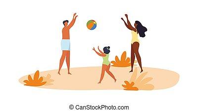 volley-ball plage, famille, jouer, jeune, heureux
