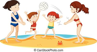 volley-ball plage, famille, jouer