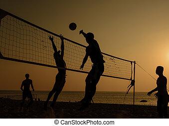 volley-ball plage, silhouette