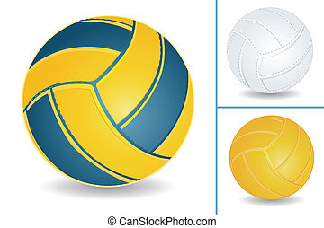 Volley-ball set - Volley-ball isolated over white...