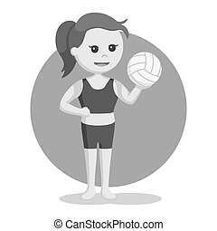 Volley beach girl holding volley ball