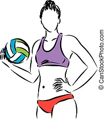 volley beach woman player illustration.eps