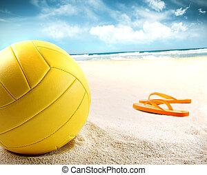 volleybal, in het zand, met, sandalen