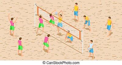 volleybal, spel, isometric, illustratie