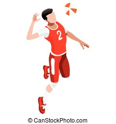 Volleyball 2016 Sports Isometric 3D Vector Illustration