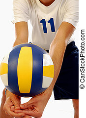 Volleyball - A young man rejects the ball in a volleyball...