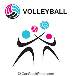 Volleyball - Abstract vector volleyball woman and man icons