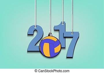 Volleyball and 2017 hanging on strings