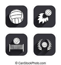 Volleyball and net icons. Winner laurel wreath.