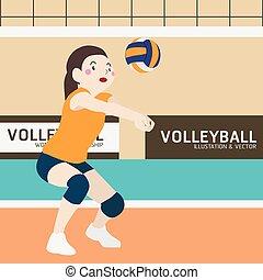 Volleyball athletic sport vector cartoon illustration set