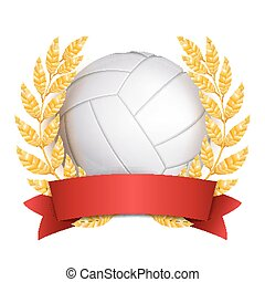 Volleyball Award Vector. Sport Banner Background. White Ball, Red Ribbon, Laurel Wreath. 3D Realistic Isolated Illustration