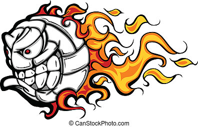 Volleyball Ball Flaming Face Vector - Flaming Volleyball...