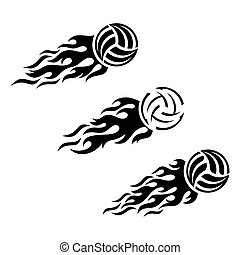 Volleyball ball flaming vector logo design
