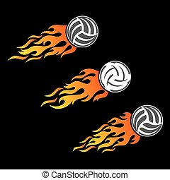 Volleyball ball flaming vector logo designs