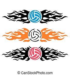 Volleyball ball flaming vector logo templates