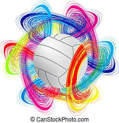 volleyball ball on color background as the concept of an ...